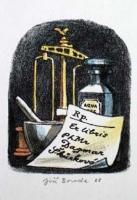 Klasické lékárnické propriety: recept, váhy, třenka s tloučkem a stojatka / zdroj:http://historie.apatykar.info/images/exlibris3.jpg